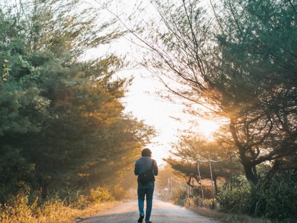 自然の中を散歩している男性