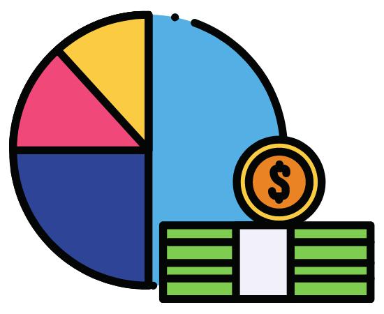 ドル札と円グラフ